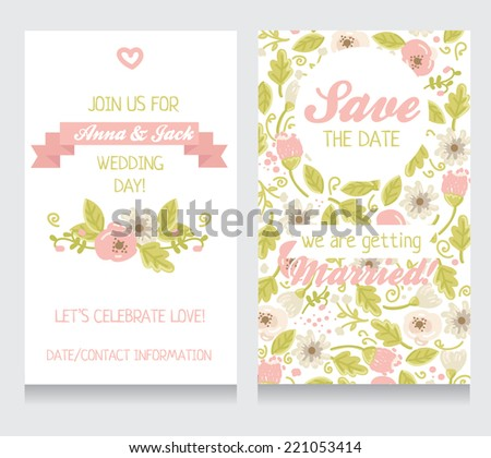 beautiful floral wedding invitation, vector illustration