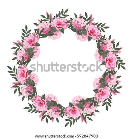 Beautiful floral wreath lovely pink flowers stock vector 2018 beautiful floral wreath with lovely pink flowers and fresh sprigs template for greeting cards mightylinksfo