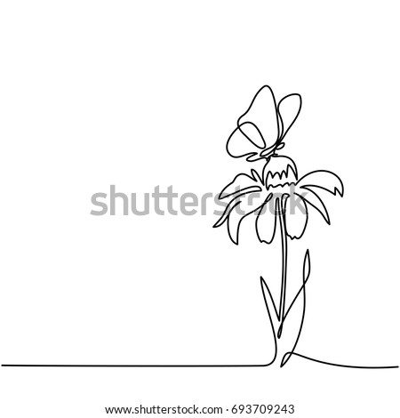 Beautiful flower Echinacea with butterfly. Continuous line drawing. Vector illustration