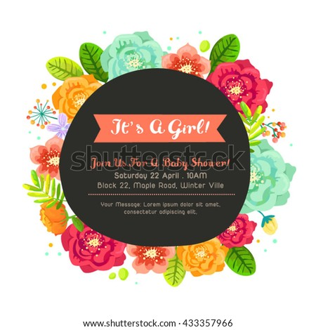 Beautiful Flower Frame For Baby Shower Set Two