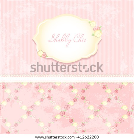 beautiful flower-patterned background. shabby chic wedding invitation. Vector illustration. Floral Save the Date or wedding invitation set. English style. golden frame - stock vector
