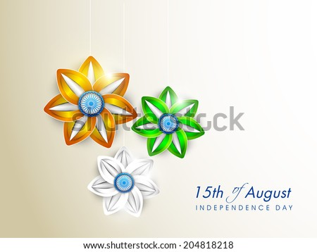 Beautiful flowers in national flag colors on grey background for 15th of August, Indian Independence Day celebrations.  - stock vector
