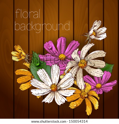 Beautiful flowers on a wooden texture. Vector illustration.