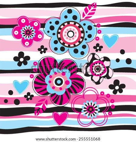beautiful flowers on striped background greeting card vector illustration - stock vector