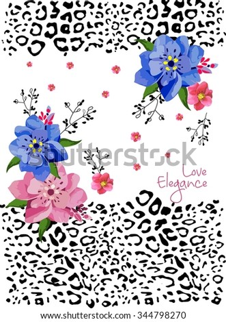 Beautiful flowers with an animal print background for t-shirt - stock vector