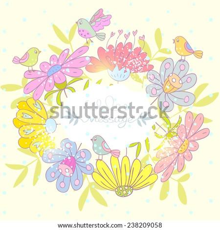 beautiful flowers wreath with cute birds. Vector illustration - stock vector
