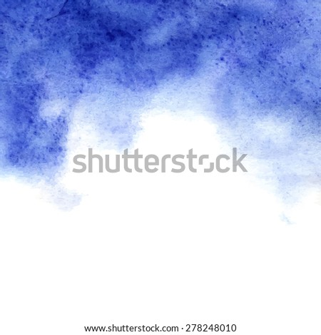 Beautiful fluffy blue watercolor background. Vector illustration.