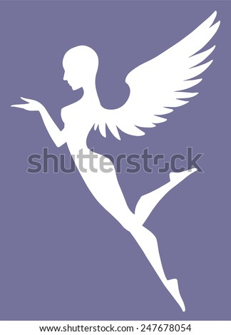 Beautiful flying angel in white silhouette