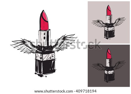 Beautiful flying lipstick with angel wings vector hand drawn fashion sketch. Glamour vogue lipstick. Isolated element on white, gray, black background. Trend fashion vector illustration - stock vector
