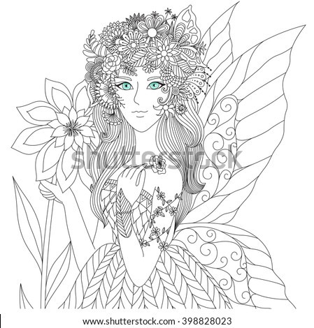 Beautiful Forest Fairy Coloring Book Adult Stock Photo (Photo ...