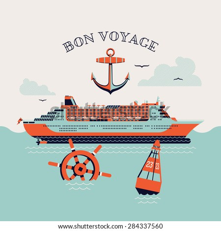 Beautiful four colored 'Bon voyage' printable poster or web banner template with cruise transatlantic liner ship, anchor, steering wheel and navigation buoy - stock vector