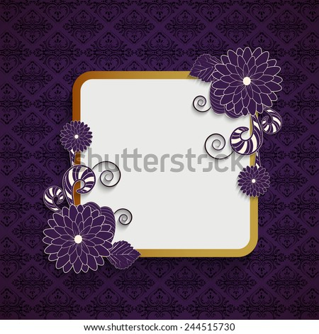 Beautiful frame in square shape with floral decoration and blank space for your message on seamless purple background. - stock vector