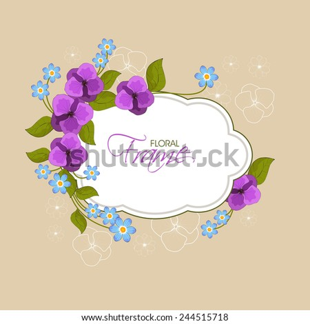 Beautiful frame or sticker decorated with flowers and leaves on flower decorated background. - stock vector