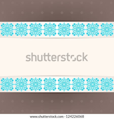Beautiful frame with blue square on a brown background. vector illustration