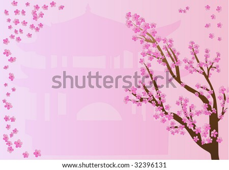 Beautiful frame with chinese motives with pagoda and sakura in blossom - stock vector