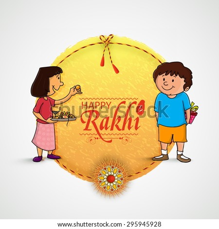 Beautiful frame with illustration of cute little sister and brother preparing for Rakhi, Indian festival of brother and sister love, Happy Raksha Bandhan celebration. - stock vector