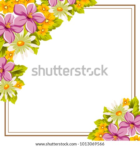 Beautiful Frames Your Text Flowers Design Stock Vector (2018 ...