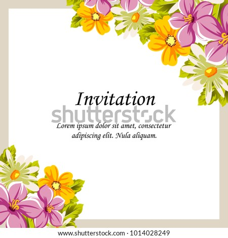 Beautiful Frames Your Text Flowers Design Stock Vector HD (Royalty ...