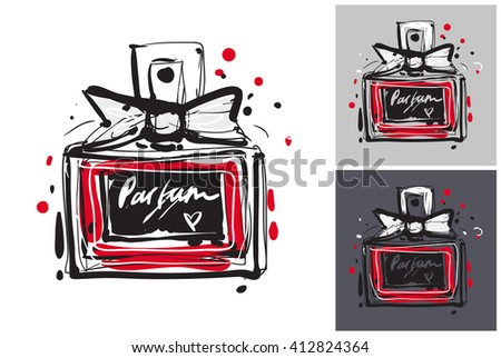 Beautiful french perfume vector hand drawn fashion sketch. Label with glamour vogue french perfume. Isolated element on white, gray and black background. Fashion vector illustration. - stock vector