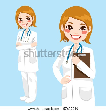 Beautiful friendly and confident woman doctor smiling holding clipboard and with arms crossed - stock vector