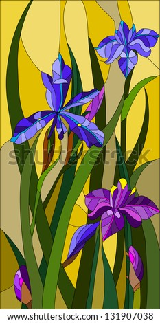 Beautiful garden flowers and bouton of Iris, floral vector composition / stained glass window - stock vector