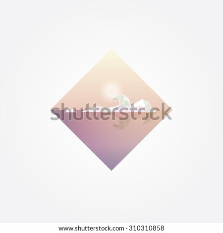 Beautiful geometric symbol with polar bear on a melting glacier in soft pastel colors. Contemporary minimalism. Global warming concept illustration - stock vector