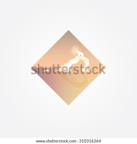 Beautiful geometric triangular symbol with polar bear on a melting glacier in soft pastel colors. Contemporary minimalistic climate change concept vector illustration - stock vector