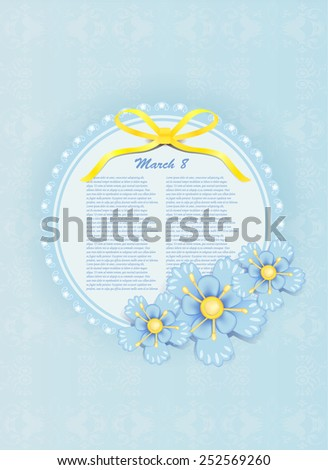 beautiful gift card with blue paper flowers, may be used for Mothers Day  - stock vector