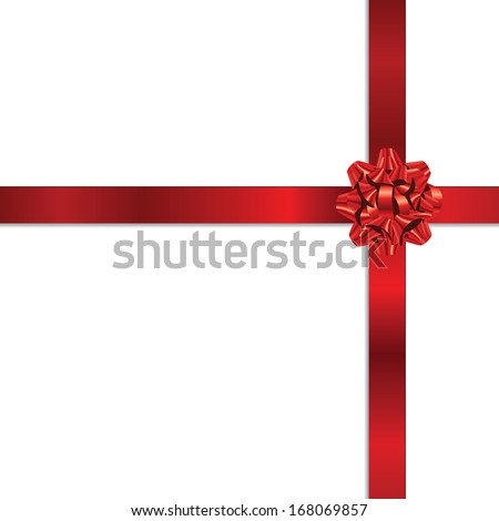 Beautiful gift red bow on white background.