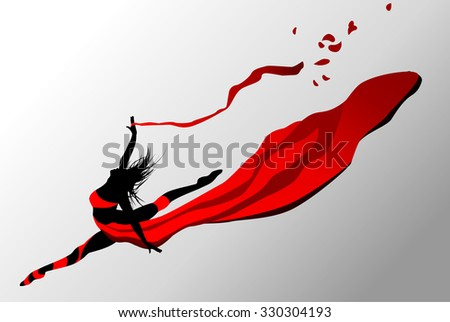 Beautiful girl dancing in red dress with ribbon on a wind.