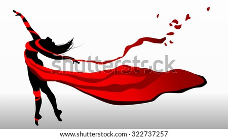 Beautiful girl dancing in red dress with ribbons on a wind.
