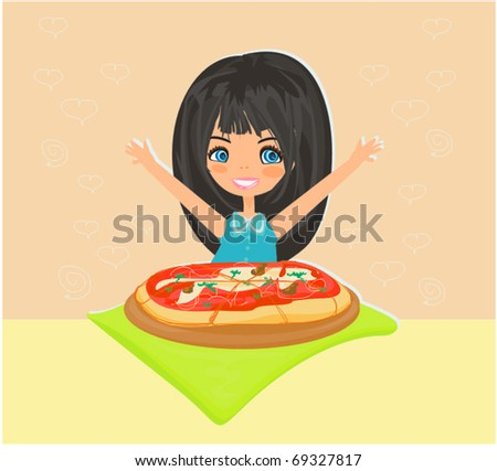 Beautiful girl eating pizza - stock vector