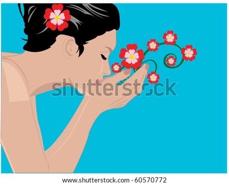 Beautiful girl face - stock vector