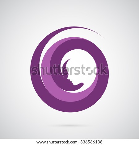 Beautiful girl face logo template. Creative symbol for company identity, advertising, poster, leaflet, banner, web and flyer. - stock vector