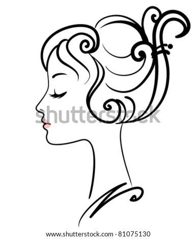 beautiful girl face vector illustration