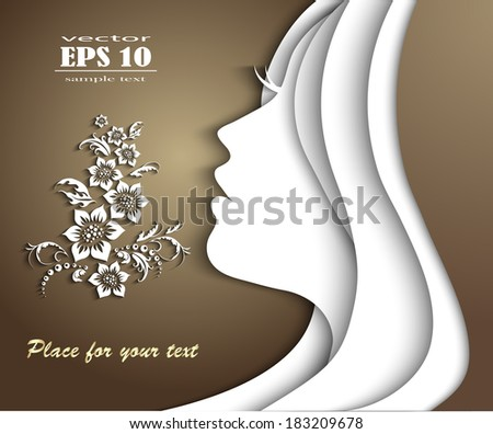 beautiful girl head. vector - stock vector