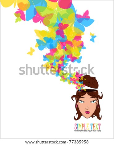 Beautiful girl head with butterflies. Vector illustration. - stock vector