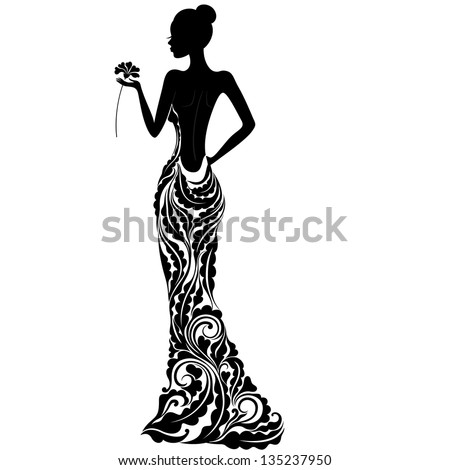 Beautiful girl in a dress with floral ornament vector - stock vector