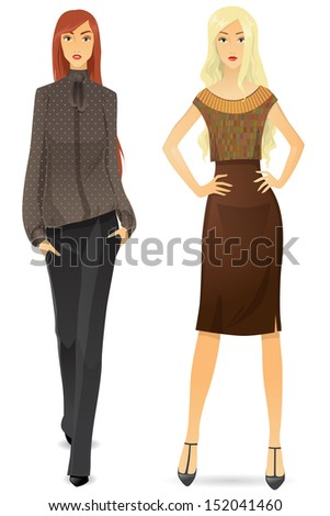 Beautiful girl in a strict office clothes - stock vector