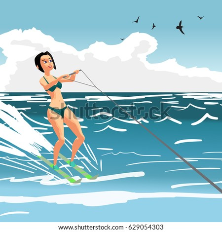 Beautiful girl in bikini on water ski. Young woman on summer vacation. Vector flat cartoon illustration