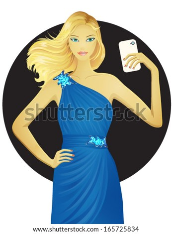 Beautiful girl in blue dress taking self portrait with her smart phone. Pretty girl self taking photo. Vector illustration. EPS 10 - stock vector