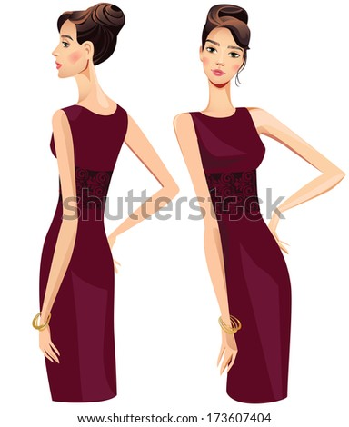 beautiful girl in dark dress, profile and straight - stock vector