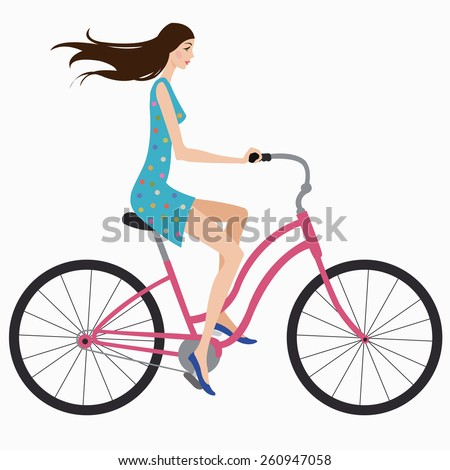 beautiful girl in dress rides a bicycle - stock vector