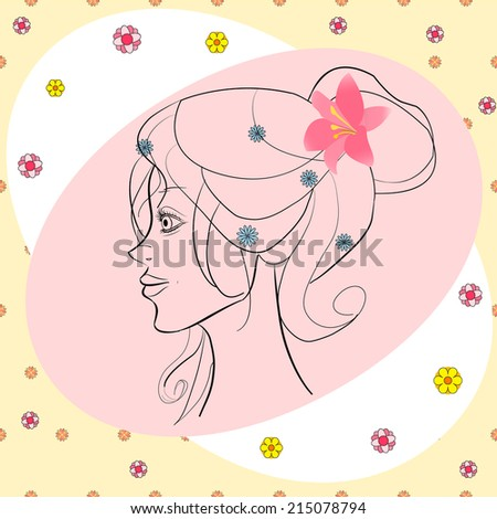 beautiful girl in profile with flowers in hair vector card - stock vector