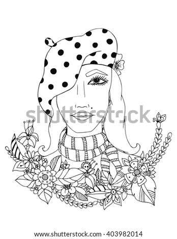 Beautiful girl in the colors of a series of images of girls from different parts of world. Design for the coloring book for adults. Coloring page, zentangl style, hand drawn. Black and White.
