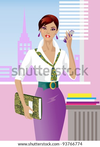 Beautiful girl in the office - stock vector