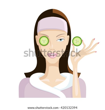 Beautiful Girl Inflicts A Mask Of Cucumber On Your Face Healthy Lifestyle Beauty