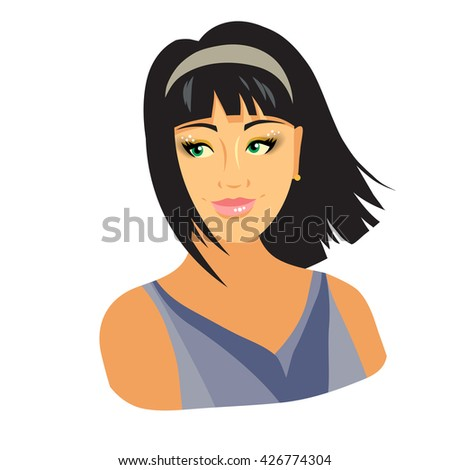 Beautiful girl is flirting. Windy weather, streaming hair. - stock vector