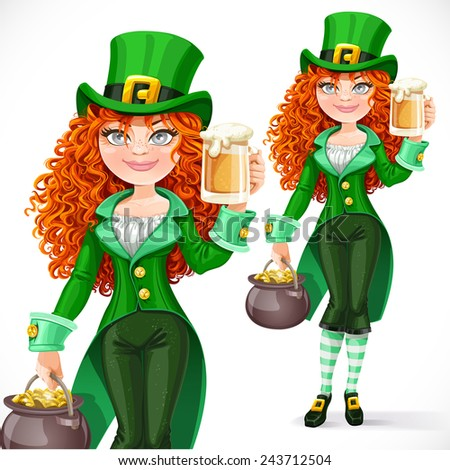 Beautiful girl leprechaun with pot of gold offers a beer isolated on a white background - stock vector