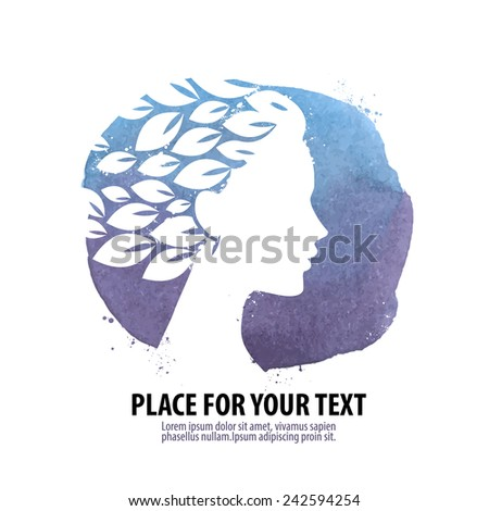Beautiful girl. Logo, icon, emblem, template - stock vector